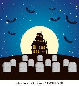 halloween enchanted castle on the night