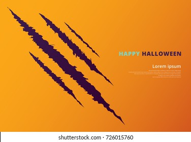 Halloween event concept with scratching marks on yellow wall from zombie nails, Vector illustration