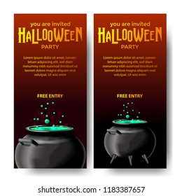 Halloween Event Party With Potion In The Pot Invitation For Banner Poster Label Template Vector