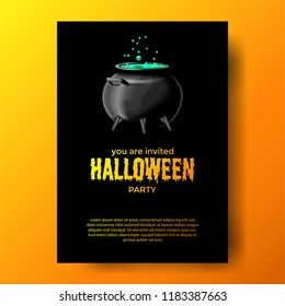 Halloween Event Party With Potion In The Pot Black Background Invitation For Banner Poster Label