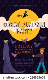 Halloween event poster template for your design. Great pumpkin party. Vector background with moon, clouds, flying witch, vampire, zombie, bats and scary pumpkins.