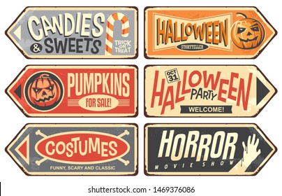 Halloween events retro signs collection. Halloween party, storyteller, horror movie show, pumpkins for sale, costumes, candies and sweets. Vintage Halloween vector illustration.