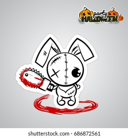 Halloween evil bunny rabbit cartoon funny monster electric saw blood. Pop art wow comic book text party Ugly angry Halloween horror thread needle sewing voodoo doll. Vector illustration sticker paper.