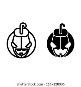 Halloween face line and glyph icon. Halloween pumkin vector illustration isolated on white. Head pumkin outline style design, designed for web and app. Eps 10.