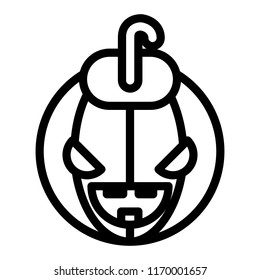 Halloween face line icon. Halloween pumkin vector illustration isolated on white. Head pumkin outline style design, designed for web and app. Eps 10.