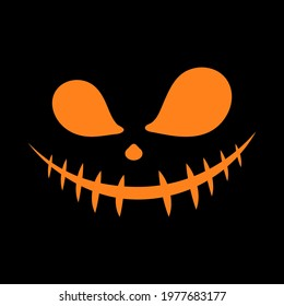 Halloween face. Scary smiley faces, Mouth with stitch is sewn shut on black background. Flat design of ghost, monster, joker, evil. Halloween concept. Vector illustration.