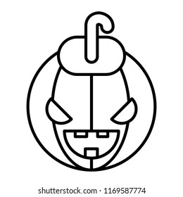 Halloween face thin line icon. Halloween pumkin vector illustration isolated on white. Head pumkin outline style design, designed for web and app. Eps 10.