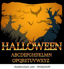 Halloween fantasy gold style font numbers and symbols set for titles