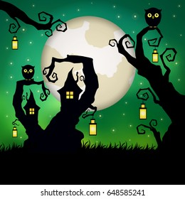 Halloween. Fantasy tree house with owls and vintage lanterns