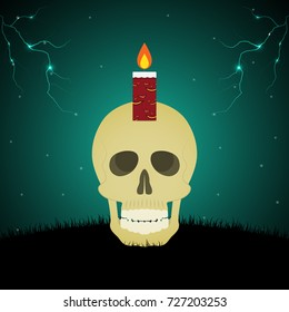 Halloween festival and celebration abstract background, evil face light candle on skull with graveyard, thunderbolt or lightning and copy space, vector illustration.