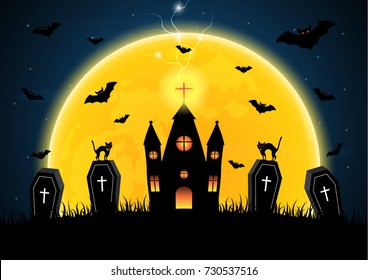 Halloween festival and celebration abstract background, coffin or casket with graveyard, castle, moon, bat, thunderbolt or lightning and copy space, vector illustration.