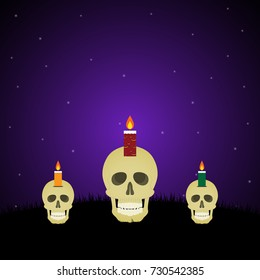 Halloween festival and celebration abstract background, evil face light candle on skull with graveyard and copy space, vector illustration.