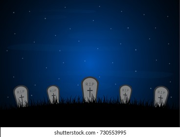 Halloween festival and celebration abstract background, gravestone or tombstone or headstone with graveyard and copy space, vector illustration.