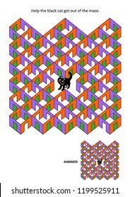Halloween festival themed rooms and doors maze game or activity page: Help the black cat get out of the maze. Answer included.