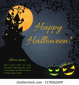 Halloween festive dark poster with haunted house on hill evil pumpkins and tree branches vector illustration