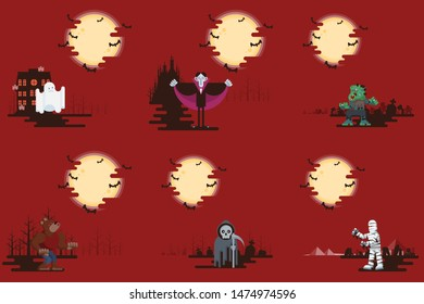 Halloween flat cartoon character on background collection with ghost, vampire, zombie, black cat, jack o lantern, werewolf, grim reaper and mummy under glowing moon