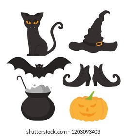 Halloween flat elements for banner, greeting card and invitation celebration symbol. Scary cat, hat, witch pot, broom, bat and shoes silhouette. Pumpkin head jack lantern.