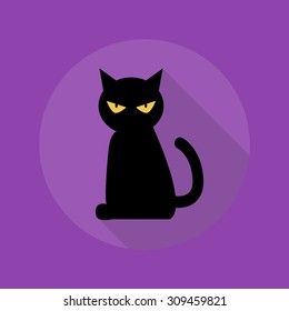 Halloween Flat Icon With Long Shadow. Black Cat