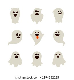 Halloween - Flat Icon Set - Ghosts with Different Face Expressions Isolated on White Background