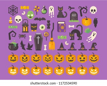 Halloween flat icon set. Spooky Halloween items collection. Black cats, skulls, pumpkins, candies, witchcraft objects. Trick or treat!