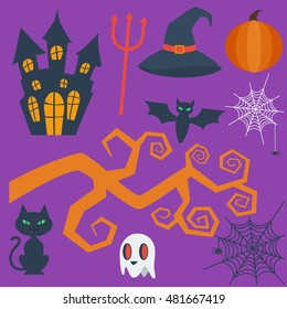 Halloween flat icons isolated on purple background. Halloween vector characters. Pumpkin and black cat, ghost and witch's hat, bat.