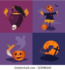 Halloween flat icons with a skull, cemetery, cauldron, pumpkin, scarecrow and raven vector illustration set