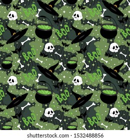Halloween flat seamless pattern with cauldron potions, hats, bats, skulls and bones vector stock illustration. Abstract background with lots of green spots. Green wrapping paper pattern for Halloween.