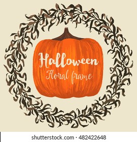 Halloween floral circle wreath and pumpkin background for poster or greeting card decoration. Vector illustration.