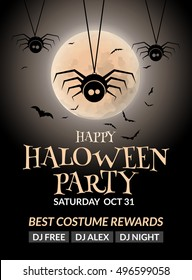 Halloween flyer or poster design template. Halloween invitation layout moon and cute spiders.