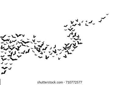 Halloween flying bats. Decoration element from scattered silhouettes. Wavy path