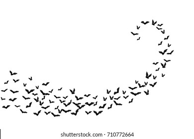 Halloween flying bats. Decoration element from scattered silhouettes. Swirl path