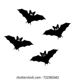Halloween flying bats isolated on white background. Scary eyes vampire vector bat. Bat silhouettes - Halloween vector illustration