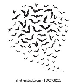 Halloween flying bats. Swarm of bat silhouettes in sky. Creepy batman halloween vector decoration. Illustration of black silhouette bat, vampire halloween