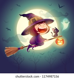 Halloween flying little witch. Girl kid in halloween costume flying over the moon. Retro vintage.