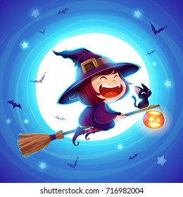 Halloween flying little witch. Girl kid in halloween costume flying over the moon. Retro vintage. Blue background.