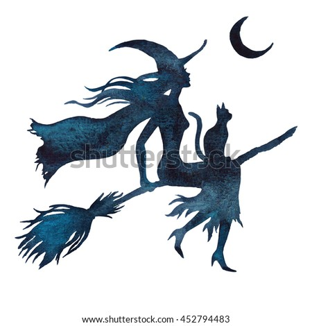 halloween flying witch on a broom watercolor vector silhouette illustration isolated on the white background