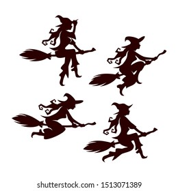 Halloween flying witch vector silhouette set of 4