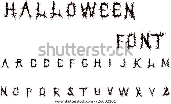 Halloween Font Detailed Vector Alphabet Black Stock Vector