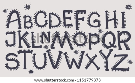 Halloween Font Needles Handdrawn Alphabet Vector Stock Vector