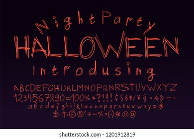 Halloween font for poster. Scary, frightening letters