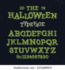 Halloween Font. Textured Modern Typeface with Shadow Text Effect. Vector Illustration.