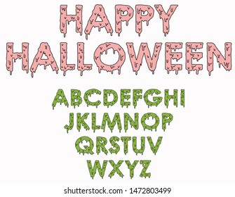 Halloween font vector illustration. Typesetting, color changing, scary slime font.