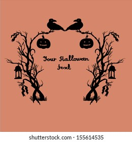 Halloween frame with bushes,lanterns,ribbons,crows and pumpkins