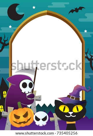 Halloween Frame Design Green And Cat Theme
