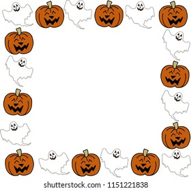 Halloween frame. Smiling Jacks and ghosts. Vector EPS 10.
