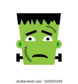 Halloween Frankenstein Vector illustration. Sad Frankenstein Day. Illustration for kids, card Halloween, print.