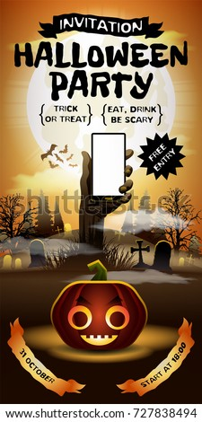 Halloween Free Entry Invitation Card Zombie Hand With Smartphone Horror Party On 31 October