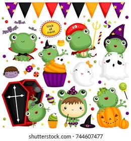 Halloween Frog Vector Set