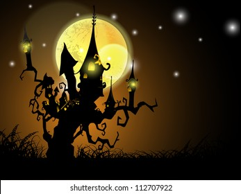 Halloween full moon night background with haunted house on a dead tree. EPS 10.