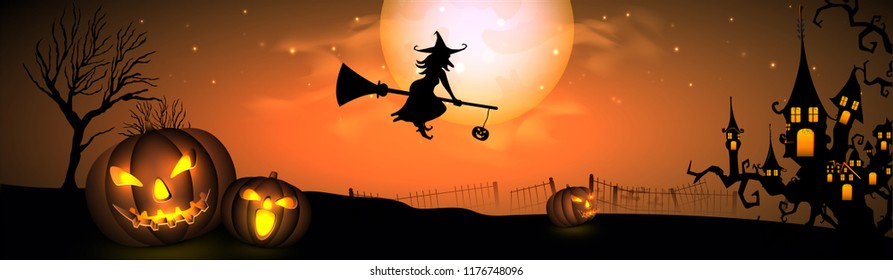 Halloween Fullmoon Banner, Witch, Haunted House, Pumpkins and Bats.